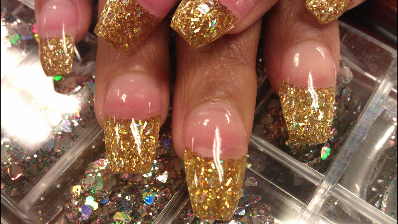 HOW TO COFFIN GOLD GLITTER NAILS PART 1 Pink Acrylic