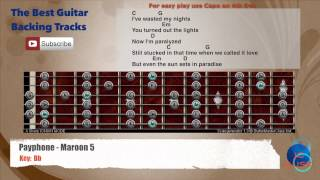 Payphone - Maroon 5 Guitar Backing Track with scale, chords and lyrics