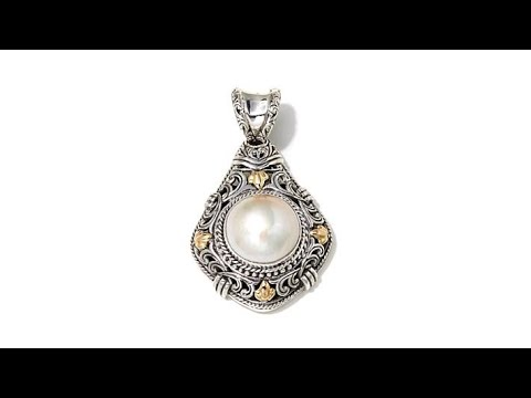 Bali Designs Mab Pearl 2Tone Sterling Silver Pendant