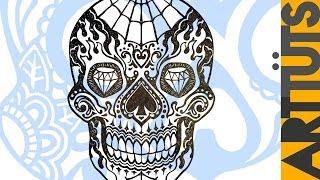 Art Tutorial - Draw a Day Dead Candy Skull Tattoo