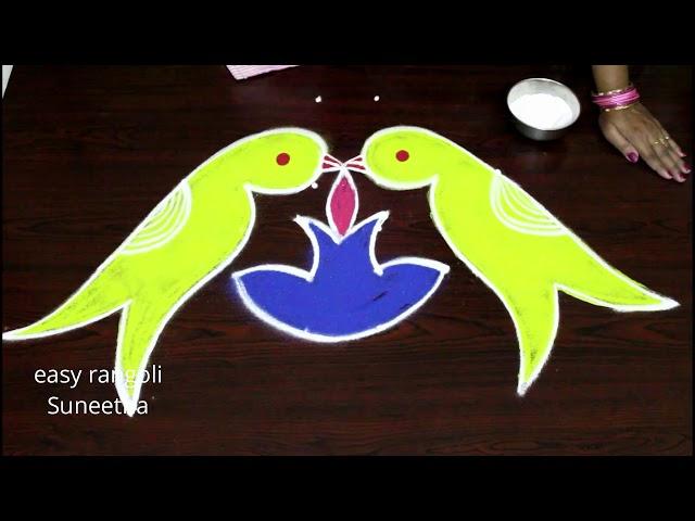 Creative Parrot rangoli kolam for new year 2019 || New year muggulu