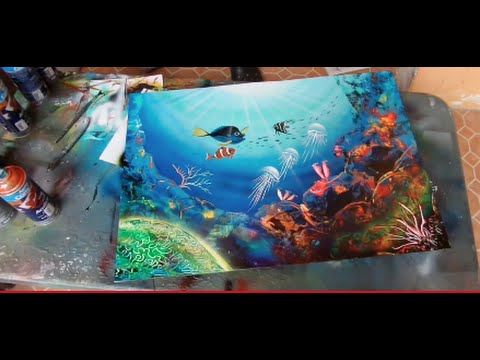 Spray paint art coral reefs - YouTube