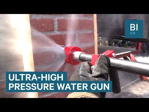 This firefighter hose can cut through brick and metal