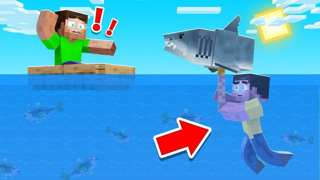 Trolling My Friends With A Giant Shark Minecraft Fish Mod