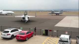F-18's parking at Rocky Mountain Metropolitan Airport