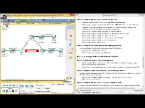 8.4.1.2 Packet Tracer - Configure and Verify a Site-to-Site IPsec VPN using CLI