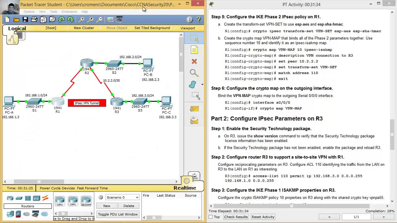8 4 1 2 Packet Tracer - Configure and Verify a Site-to-Site IPsec VPN using  CLI