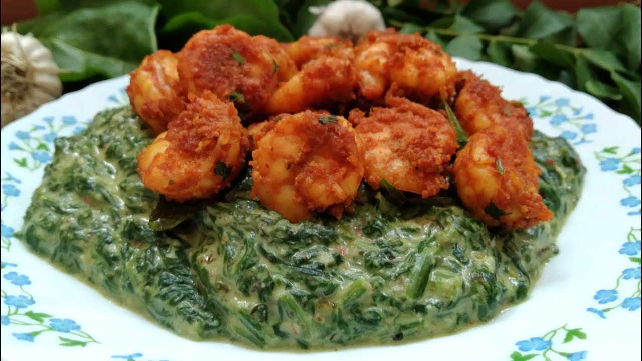 Keto Recipe - Keto White Sauce Creamed Spinach With Keto Shrimp Fry ( Indian Version ) | Keto Meal