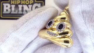 Gold Poop Emoji Pendant | CZ Emoji Charm | Bling Bling Poop