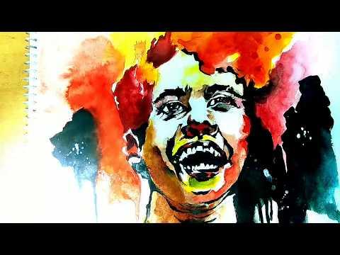 Watercolour portrait painting