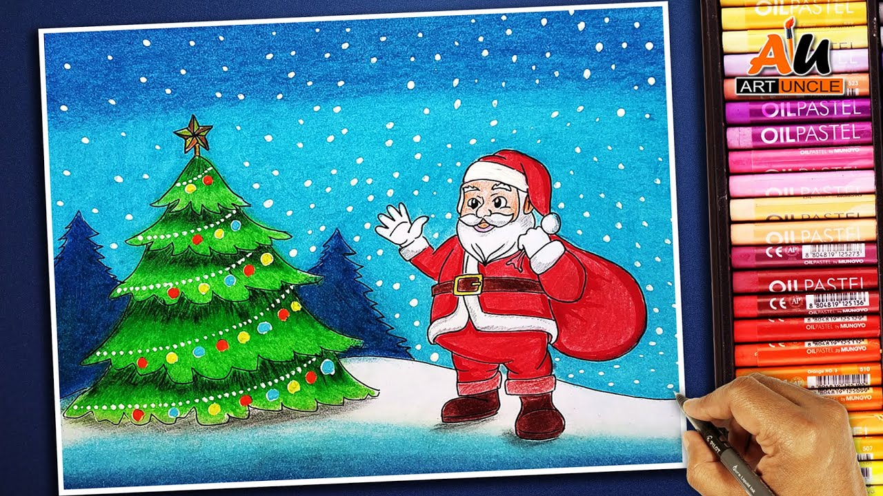 How To Draw Santa Claus And Christmas Tree Youtube