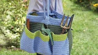 Left Hand: Crochet Garden Tote Bag: Updated Version