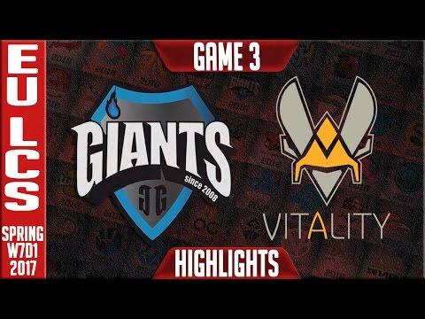 Vitalty vs Giants Game 3 Highlights - EU LCS W7D1 Spring 2017 - VIT vs GIA G3