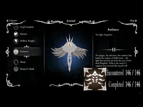 Hollow Knight - Showcasing All Monsters, Complete Hunter Journal! HQ