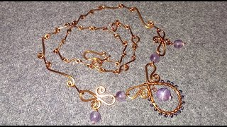 copper wire necklace with amethyst - handmade jewelry design 84