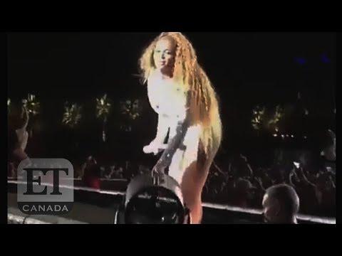 Beyonce Adjusts Own Fan, Falls At Coachella