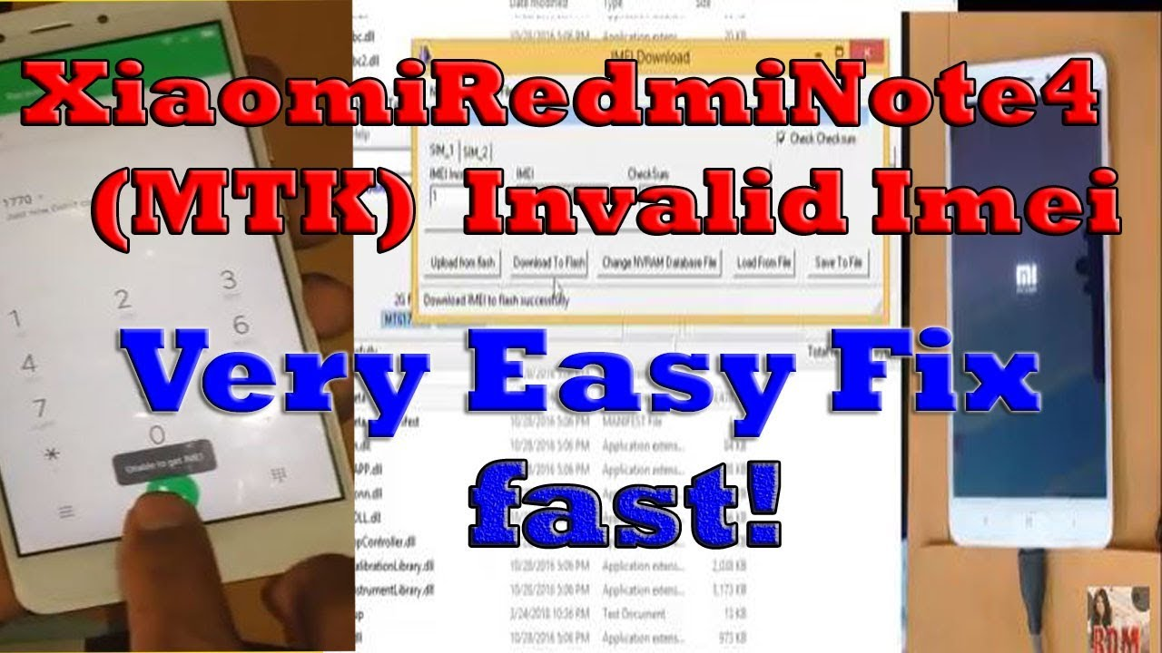 Xiaomi Redmi Note 4 MTK-Invalid Imei Fix,How to Repair Imei Redmi