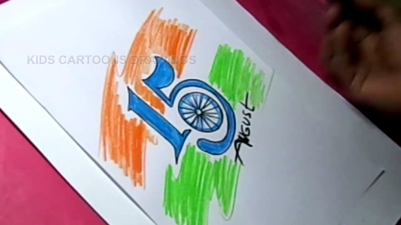 How To Simple Independence Day Greeting In August 15 Drawing Youtube