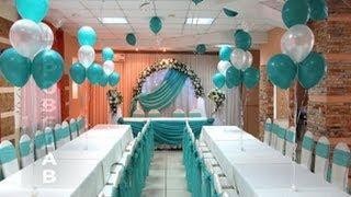 Оформление зала шарами и тканью Hall decoration.