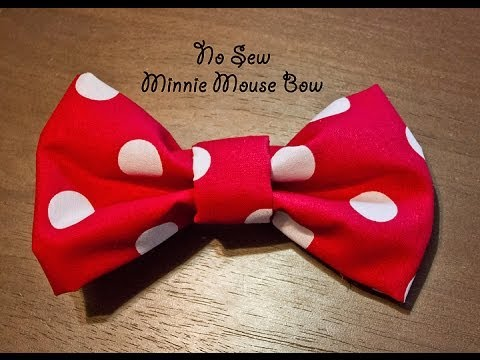 "No Sew ""Minnie Mouse"" Bow - YouTube"