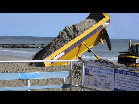 Hurricane Sandy - Construction Equipment rebuilding beaches