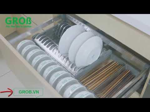 (Grob.vn) Ngăn kéo bát đĩa Grob Inox Hộp 304