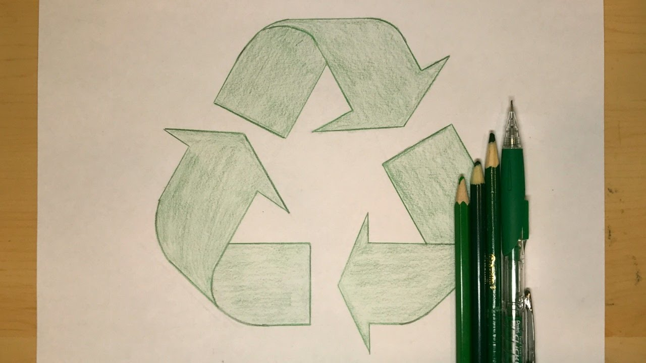 how to draw the recycling symbol symbol drawing youtube