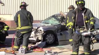 Raw video; Elyria car vs dump truck accident