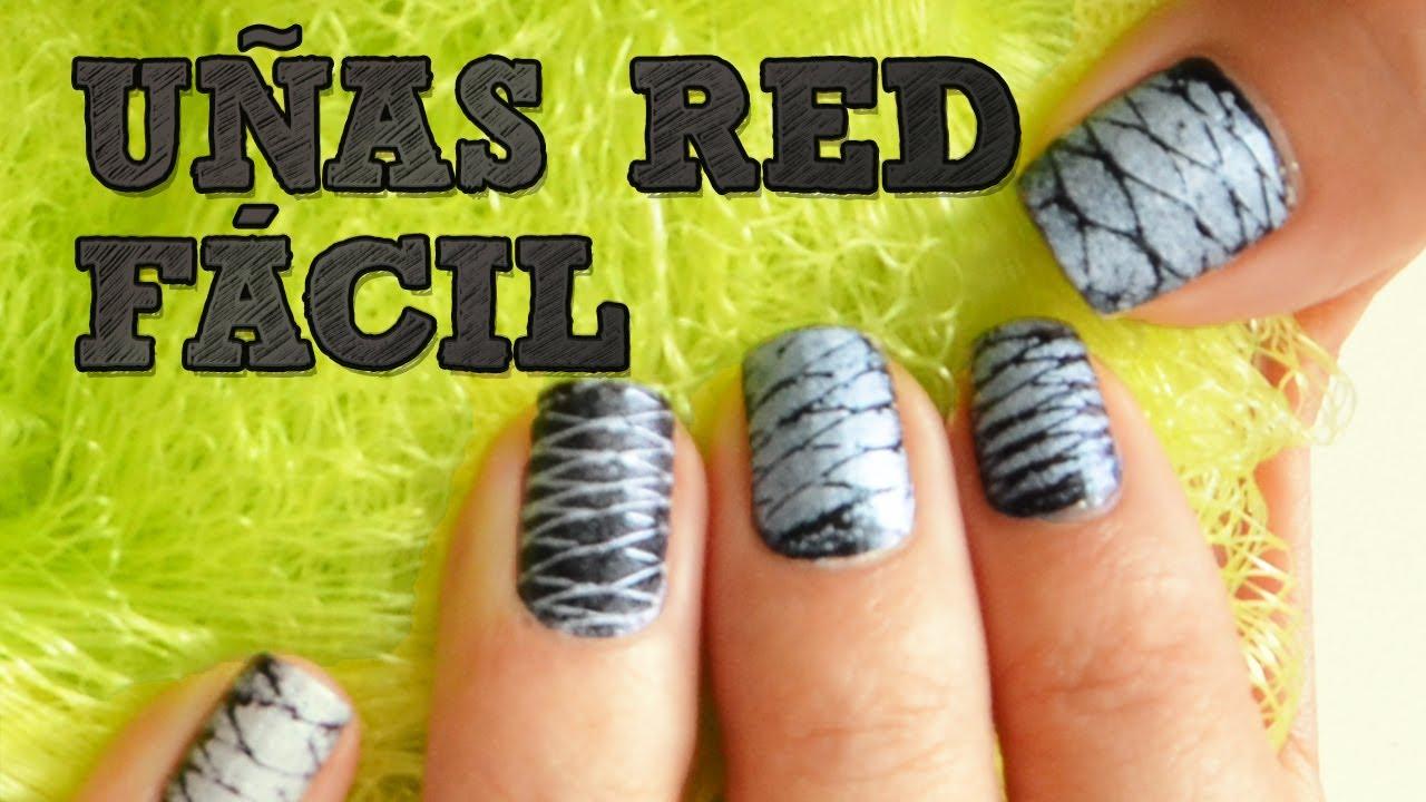 UÑAS DE RED FÁCIL | Uñas decoradas DIY | Decoración de uñas con ...