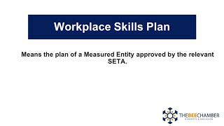 Definitions Work Place Skills Plan