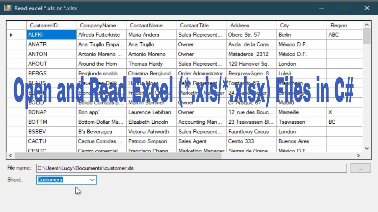 C Tutorial Open And Read Excel Files Xls Xlsx Foxlearn Youtube C read excel file into datatable with