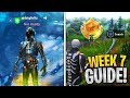 watch he video of Week 7 Challenges Guide! Follow the treasure map in Pleasant Park, Score a goal on different Pitches
