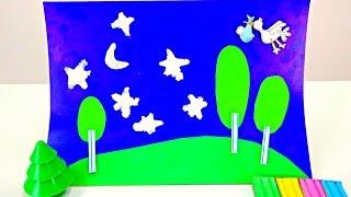 Поделки: Аппликация Ночной Лес. Видео для детей