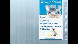 Урок 23.  Формати даних та форматування таблиць - 7 КЛАС