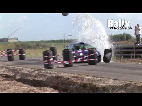 Subaru Impreza WRC P2000 Hits Water Barrel - Rally Crash
