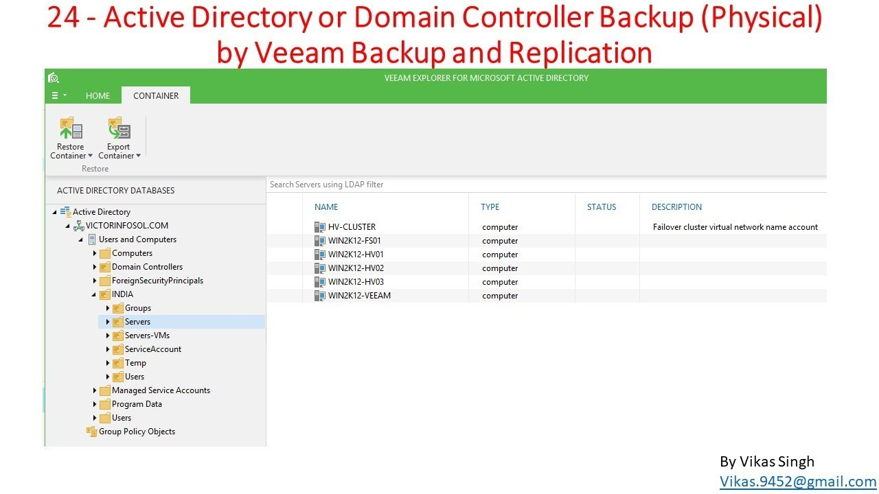Veeam Advance Training | 24 - Active Directory or Domain Controller Backup  Physical by Veeam Backup