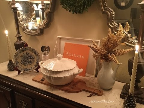 🐿🌰🍁 Dining Room Buffet & Mantel - Transition From Halloween/Fall to Thanksgiving/Autumn
