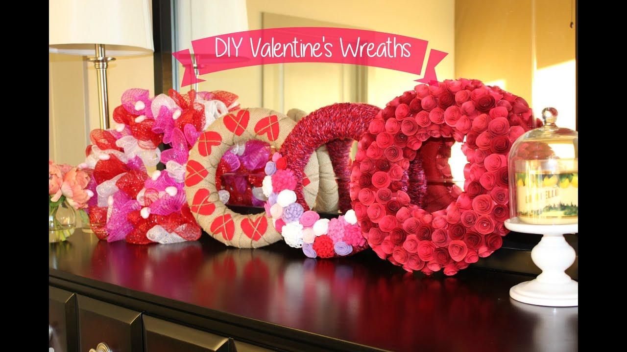 Valentine's Decor: 4 Easy DIY Wreaths - YouTube