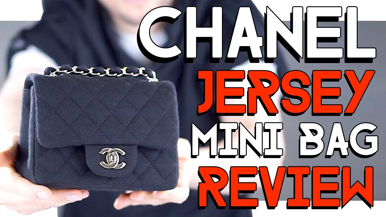 7182971bb770d9 CHANEL classic JERSEY mini square BAG REVIEW - YouTube