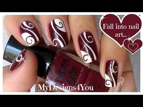 Abstract Nail Art | Burgundy Madam Glam Nails ♥ Diseño De Uñas Castaño