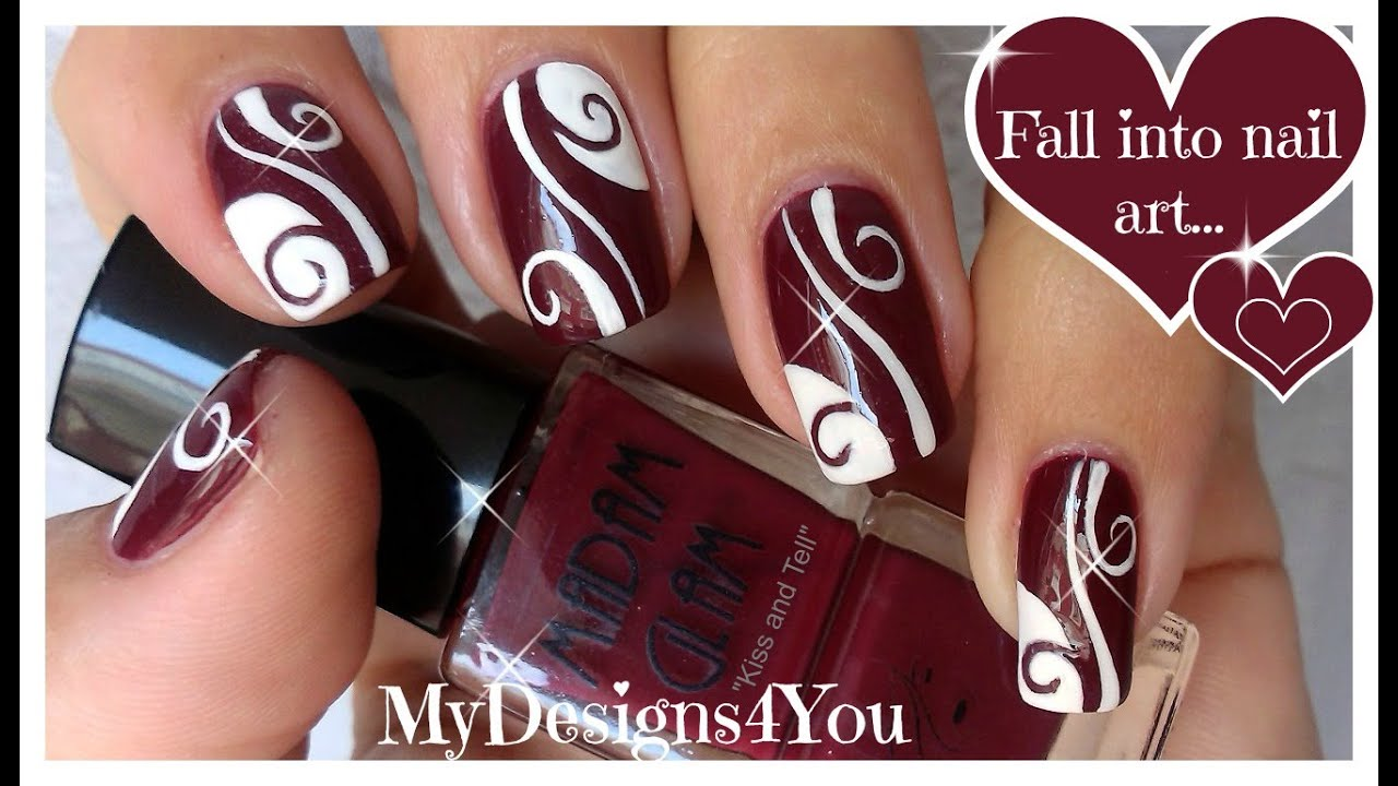 Burgundy Fall Nail Art