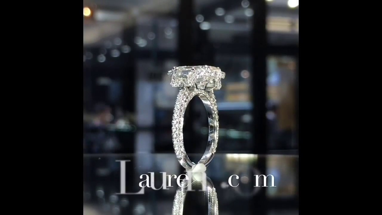 2.11 ct Emerald Cut Diamond 3-Stone Engagement Ring - YouTube