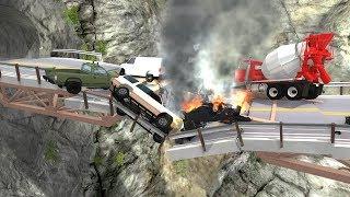Collapsing Bridge Pileup Crashes #2 - BeamNG Drive