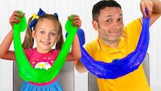 Maya and daddy make chocolate pop it - Funny kids video