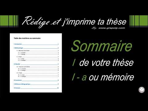 sommaire mémoire ou thèse word