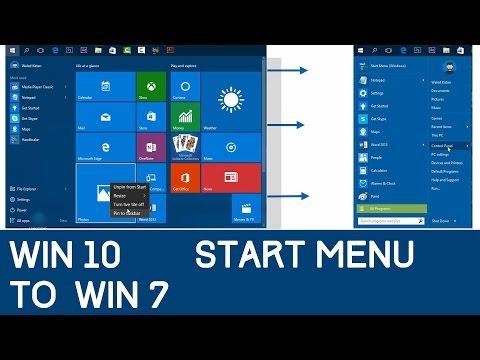 Windows 10 Start Menu To Windows 7 Start Menu