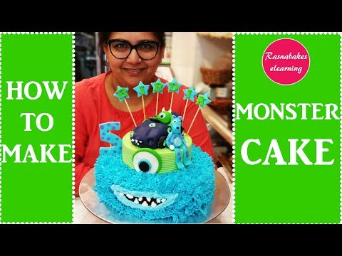Monsters inc birthday cake design for kids:sully mike monsters inc movie cake decorating videos