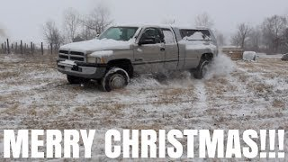 5 SPEED 12 Valve CUMMINS DUALLY PLAYING IN THE SNOW!!!