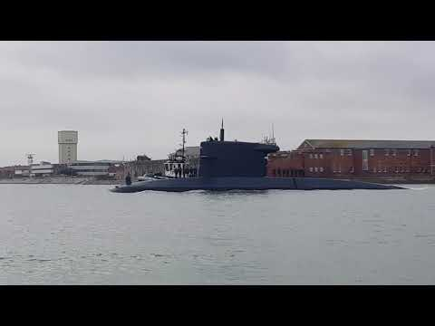 HNLMS Walrus sailing out of Portsmouth harbour