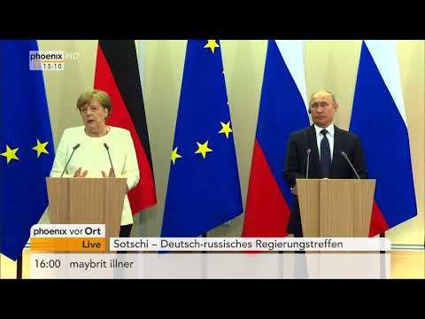 Pressekonferenz mit Angela Merkel und Wladimir Putin zu aktuellen Konflikten am 18.05.18
